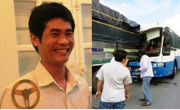 Tài xế xe tải Phan Văn Bắc (trái) và hiện trường vụ va chạm
