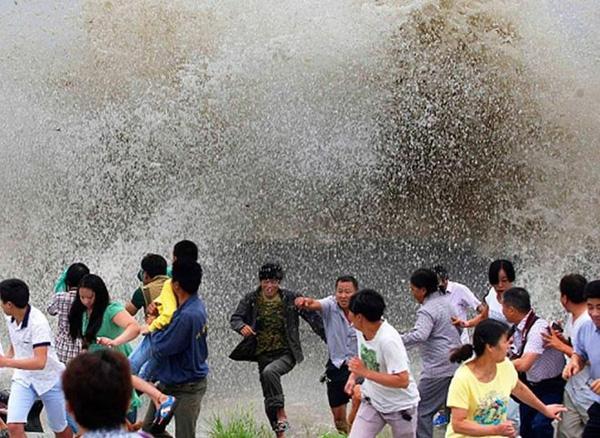 Nhiều người mạo hiểm tính mạng vì muốn được tận mắt chứng kiến cảnh thủy triều lên.