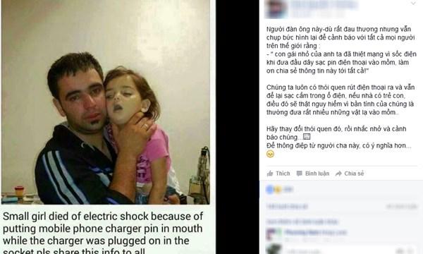 Câu chuyện về đứa trẻ bị sốc điện do ngậm sạc pin đang sạc đang thu hút cộng đồng mạng. Ảnh Facebook
