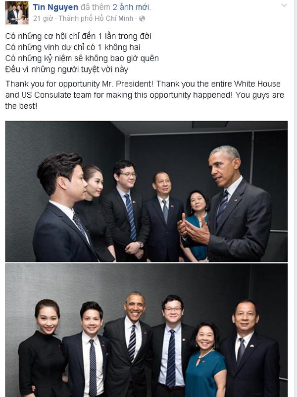 Doanh nhân trẻ tuổi Nguyễn Trung Tín cũng chia sẻ về cảm xúc được gặp ngài Tổng thống Mỹ.