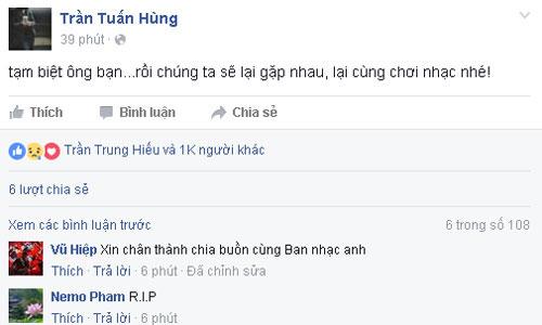 Tay guitar Trần Tuấn Hùng đã chia sẻ dòng cảm xúc gây nhiều xúc động về người bạn - Trần Lập.