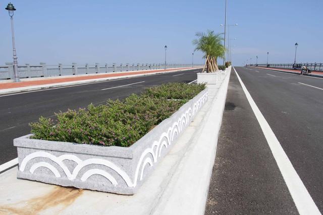 Ở giữa cầu được trồng cây xanh tạo cảnh quan...