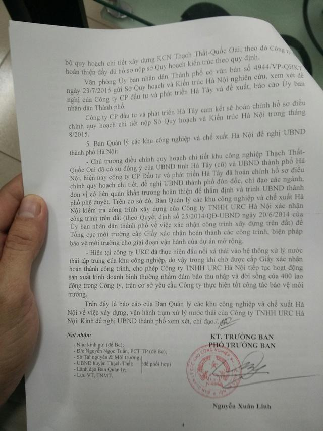 Văn bản của BQL các khu công nghiệp và chế xuất Hà Nội có tính chất mở đường cho URC Hà Nội