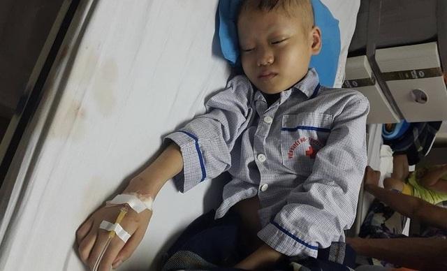 Cháu Bình nằm mê man trên giường bệnh. Ảnh PT