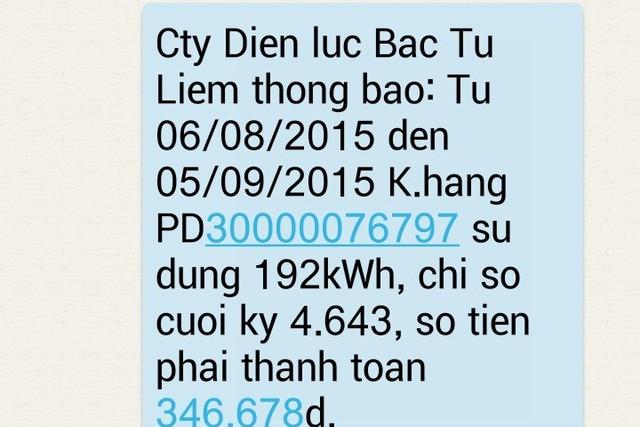 Chị Giang phản ánh việc không dùng điện nhưng vẫn nhận được tin nhắn báo chỉ số tiêu thụ và số tiền phải đóng của Điện lực Bắc Từ Liêm. (Ảnh chụp màn hình)
