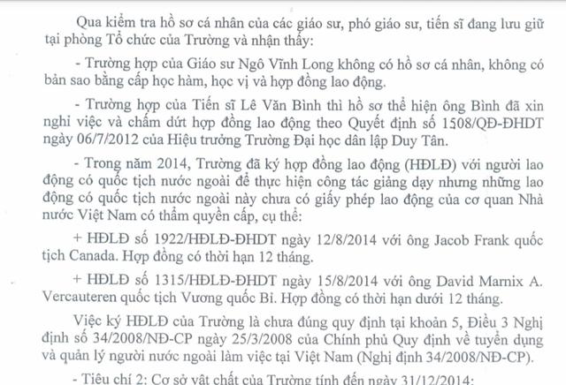 Kết luận thanh tra của Thanh tra TP Đà Nẵng tại trường Đại học dân lập Duy Tân. Ảnh Đức Hoàng