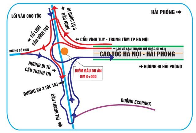Nút giao đầu tuyến đường vành đai III Hà Nội. Ảnh vidifi