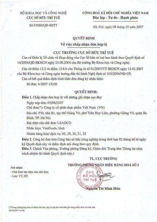 Cục Sở hữu trí tuệ, Bộ Khoa học Công cấp chứng nhận đăng ký nhãn hiệu cho Vietfoods