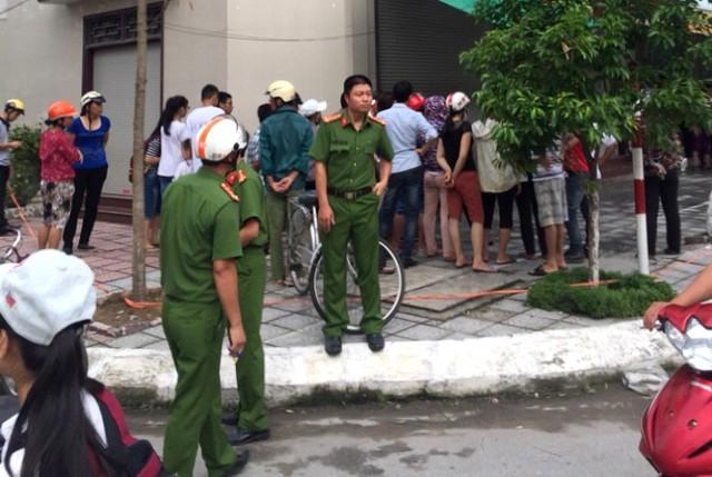 Lực lượng Công an TP Thái Bình có mặt tại hiện trường. Ảnh: CTV