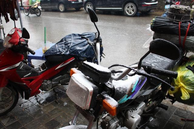 Xe cộ phủ đầy tuyết trắng.Ảnh: Nghiêm Linh