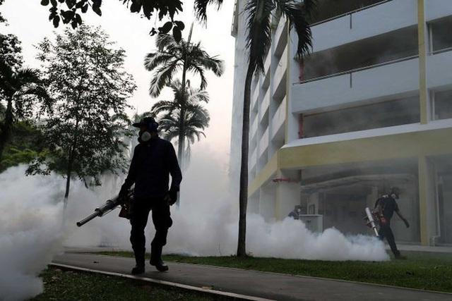 Phun xịt hóa chất diệt muỗi phòng chống virus Zika tại quận Aljunied, Singapore. Ảnh: AFP