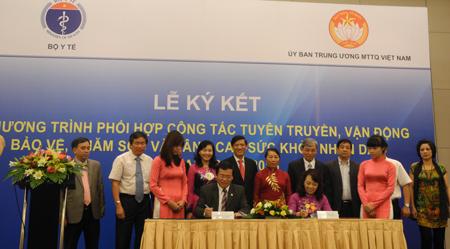 Bộ Y tế phối hợp UB Trung ương MTTQ Việt Nam tổ chức Lễ ký kết Chương trình hành động giai đoạn 2013-2016 1