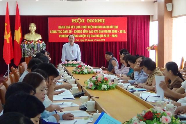 Ông Vũ Xuân Cường - Phó Chủ tịch UBND Tỉnh, Trưởng ban chỉ đạo công tác DS-KHHGĐ tỉnh Lào Cai chủ trì Hội nghị