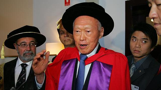 Lee Kuan Yew receives a Doctor of Laws from the Australian National University in March 2