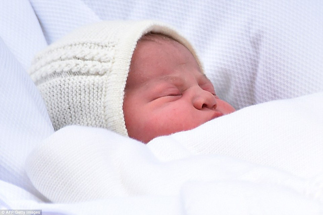 The little princess - pictured at just a few hours old - is the fourth in line to throne and the fifth great-grandchild of Queen Elizabeth II, 89