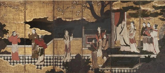 Đường Minh Hoàng và Dương Quý phi, đứng trên sân thượng. Tranh vẽ bởi Kanō Eitoku (1543–1590)