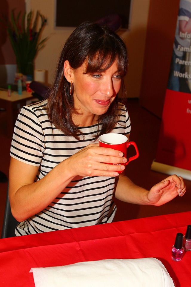 Samantha Cameron gives manicures at the launch of Contact a Familys campaign