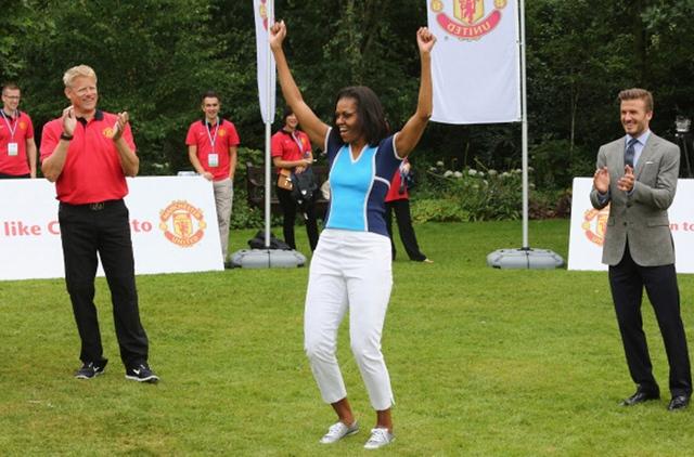 Bà Michelle Obama tới tòa nhà Winfield, trong công viên Regents ở London tham gia sự kiện Lets Move! London để cổ động cho Olympic London 2012.