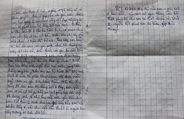 Bức thư được cho là người cha của em bé gửi Trâm về việc gửi gắm con mình cho cô nuôi dưỡng vì anh ta chờ thi hành án tử hình.