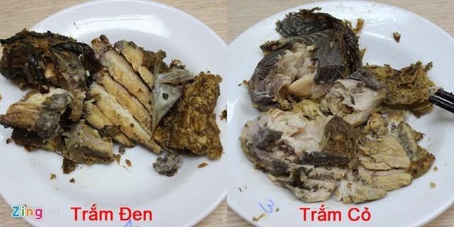 Miếng cá kho trắm đen khi gắp ra các thớ thịt tách rời, rõ ràng trong khi cá trắm cỏ dính vào nhau, thịt bở, thớ không tách rời. Ảnh: Ngọc Lan.