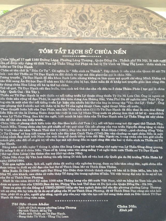 Tấm bia đá ghi tóm tắt lịch sử Chùa Nền
