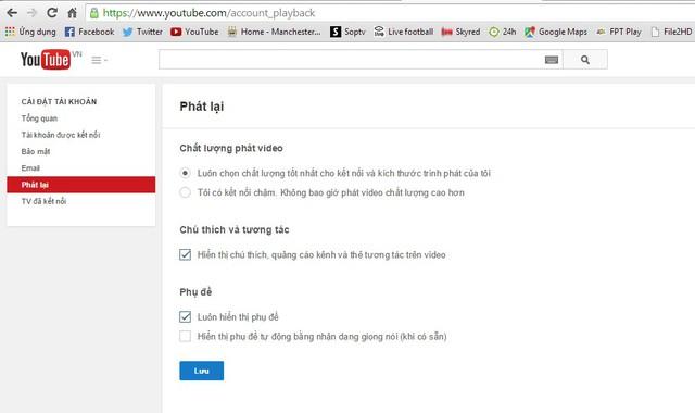 Thiết lập video paly back giúp người dùng xem lại video với chất lượng tốt nhất.