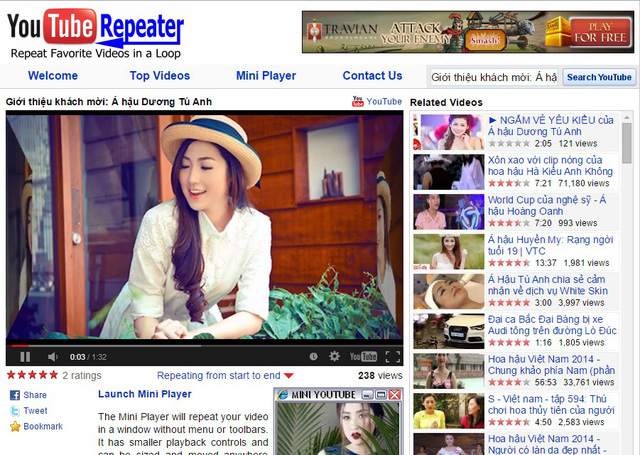 Giao diện của YoutubeRepeater.