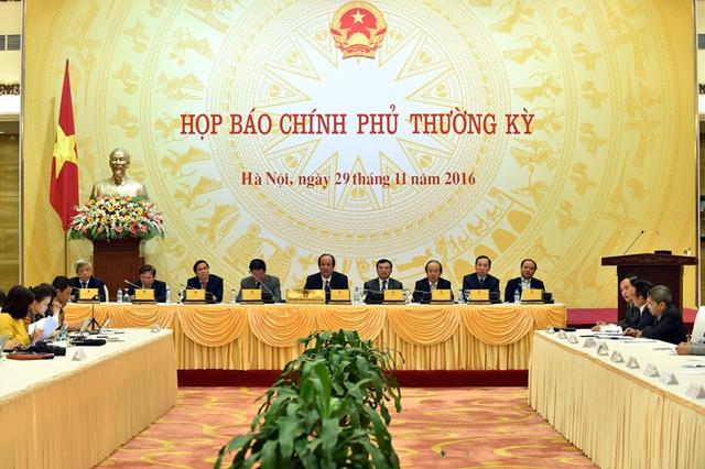 Chính phủ họp báo thường kỳ tháng 11 vào chiều hôm nay (29/11). Ảnh: CP