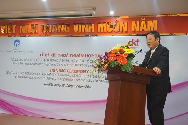 Thứ trưởng Bộ Y tế Nguyễn Viết Tiến phát biểu khai mạc Lễ ký kết. Ảnh: N.Mai