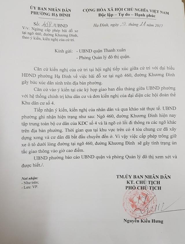 UBND phường Hạ Đình làm công văn đề nghị UBND quận Thanh Xuân ngừng việc cấp phép bãi đỗ xe ở ngõ 420 Khương Đình.