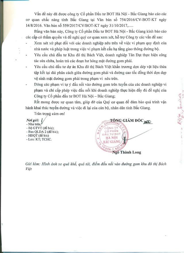 Công văn số 590/2017/CV-BOT-KHKT của Công ty BOT HN - BG