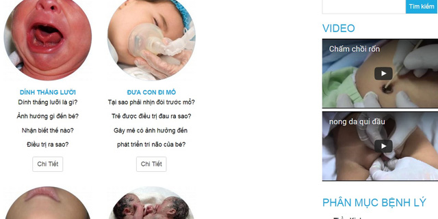 Một giao diện chuyên mục bệnh lý trong www.phauthuatnhi.vn.