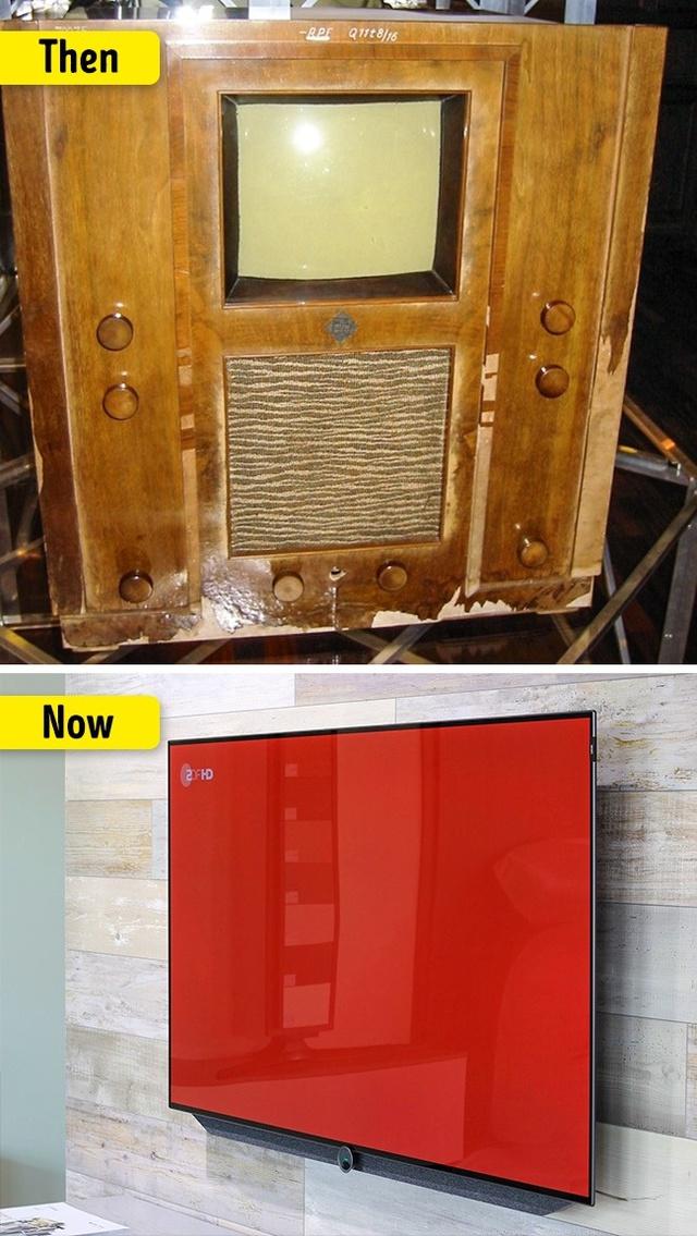 Thay vì những chiếc ti vi siêu mỏng siêu nét, ti vi ngày xưa chỉ là chiếc hộp gỗ cồng kềnh.
