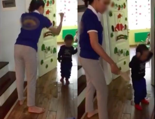 Em bé bị cô giáo bạo hành.