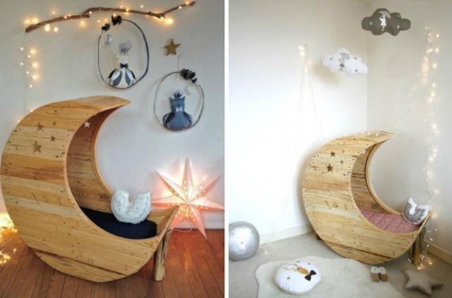 2. Một chiếc ghế ngồi bập bênh hình mặt trăng từ những mảnh gỗ pallet sẽ giúp bạn có cảm hứng ngồi đọc sách hơn.