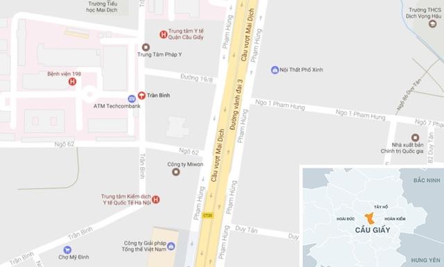 Hiện trường vụ việc tại khu trọ bên đường Trần Bình, quận Cầu Giấy. Ảnh: Google Maps.