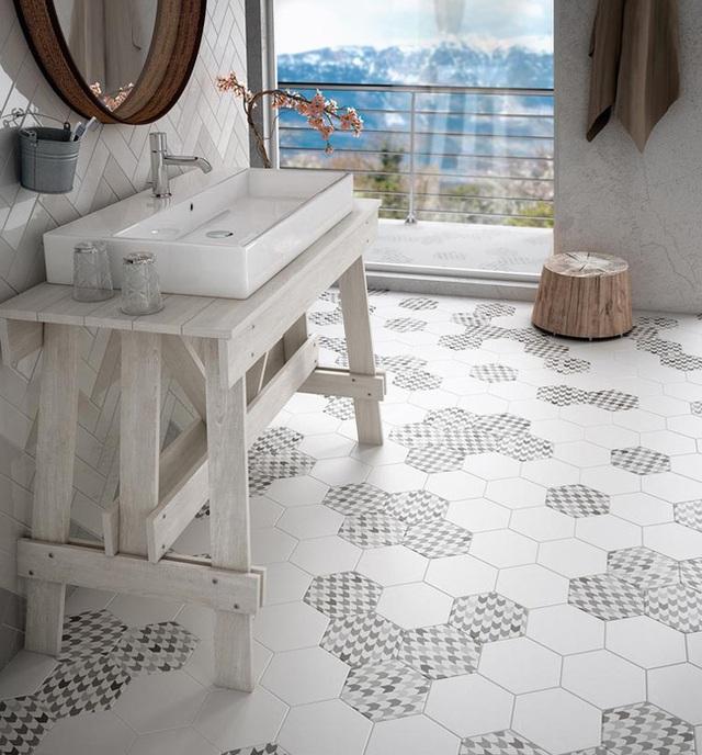 1. Gạch lát sàn hình lục giác đặc biệt được yêu thích sử dụng trong không gian phòng tắm.