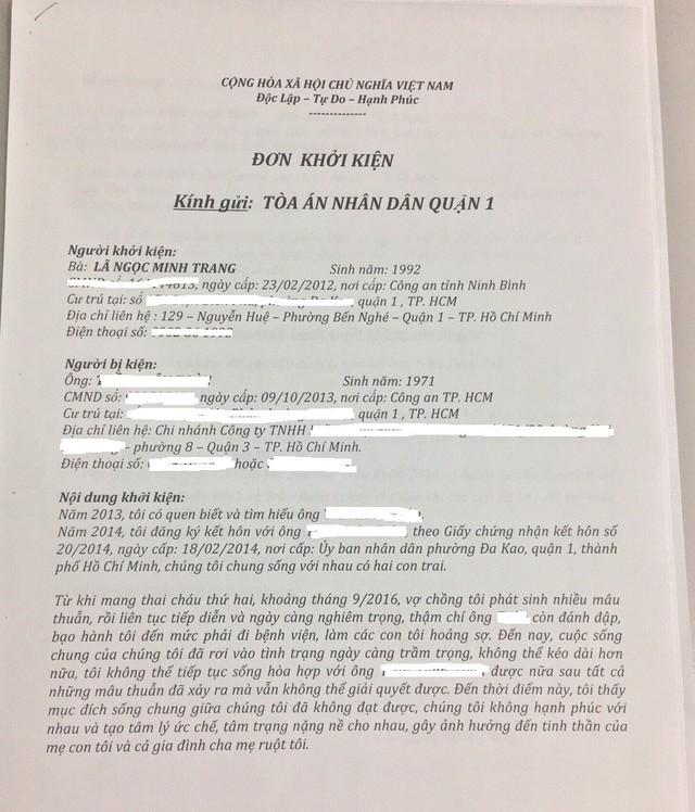 Minh Trang gửi đơn kiện chồng cũ đến tòa án nhân dân quận 1.