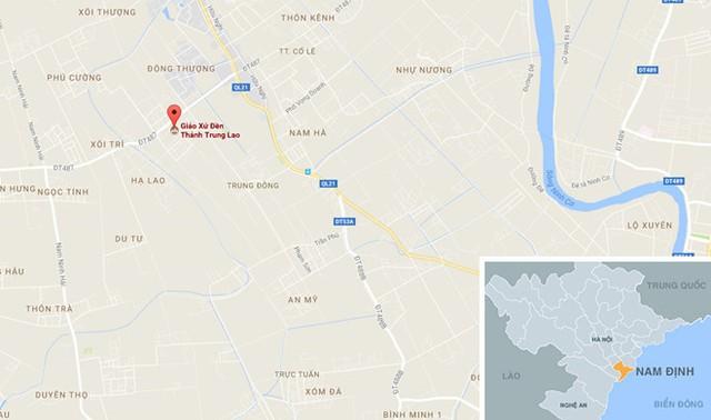 Nhà thờ cổ ở xã Trung Trực, huyện Trực Ninh, Nam Định . Ảnh: Google Maps.
