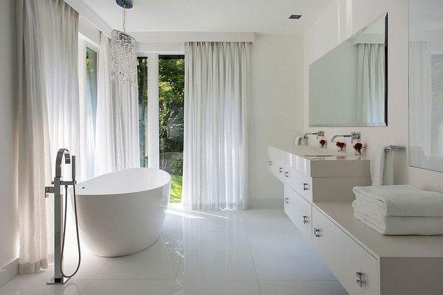 Phòng tắm đẹp hiện đại, gần gũi với tự nhiên.