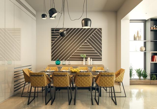 12. Hình học là chủ đề phổ biến của phòng ăn đầy màu sắc này, những chiếc ghế màu vàng bồ công anh tạo ra 1 không gian đầy nắng.