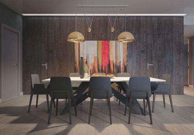 13. Thêm 1 thiết kế theo chủ đề sẫm màu nhưng có cách tiếp cận nhẹ nhàng hơn với các vật liệu mờ. Bức tranh nhiều màu trên tường gỗ là điểm nhấn khá độc đáo.