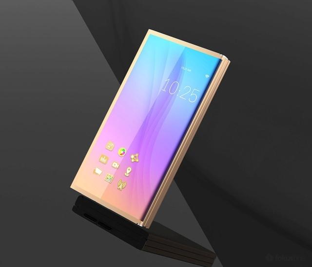 Khi gập lại, thiết bị là một điện thoại với màn hình gần như không viền, không có nút Home.