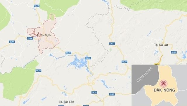 Thị xã Gia Nghĩa (màu hồng) nơi xảy ra sự việc. Ảnh: Google Maps.