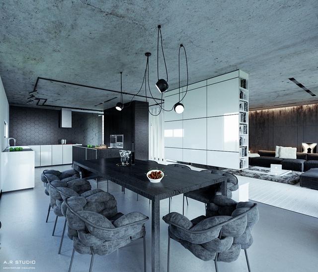3. Biến thể kết cấu cho phép phòng ăn này sử dụng khá nhiều gam màu xám xịt. Những chiếc ghế sang trọng có thiết kế độc đáo, giàn đèn trên cao cũng là 1 điểm nhấn đáng chú ý.