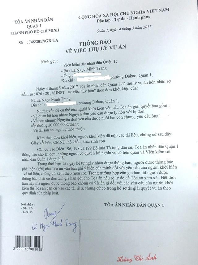 Tòa án nhân dân quận 1 đã thụ lý hồ sơ vụ án từ tháng 5.