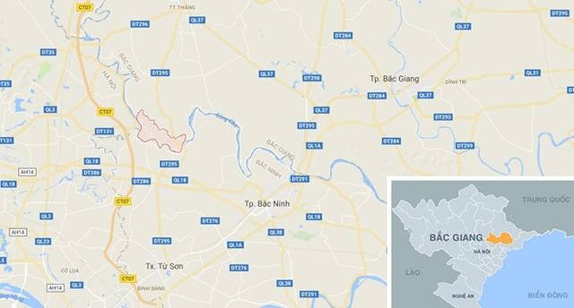 Xã Mai Đình (ô đỏ) nơi xảy ra vụ tai nạn. Ảnh: Google Maps.