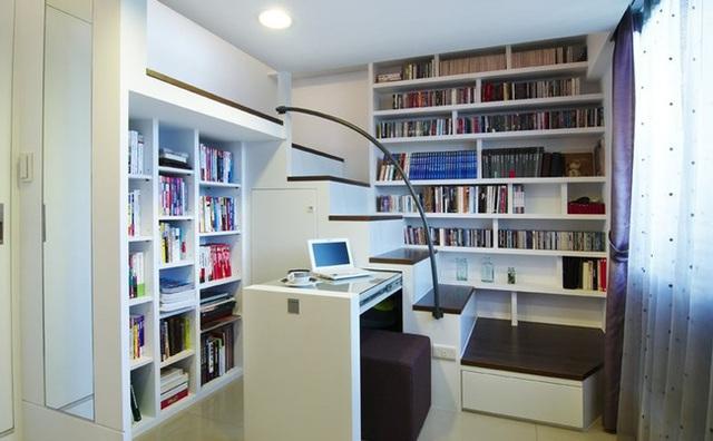 Góc đọc sách đáng yêu trong căn hộ nhỏ.