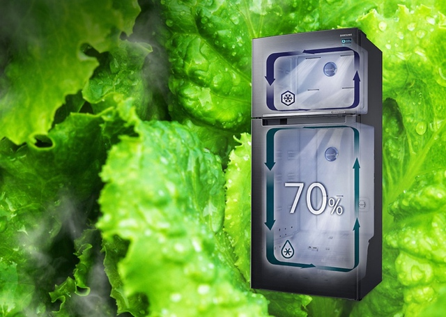 Công nghệ 2 dàn lạnh độc lập tạo môi trường lý tưởng giữ độ ẩm đến 70%, hơn hẳn 30% độ ẩm ở tủ lạnh 1 dàn lạnh. Thực phẩm không bị khô héo và giữ độ tươi đến 10 ngày.