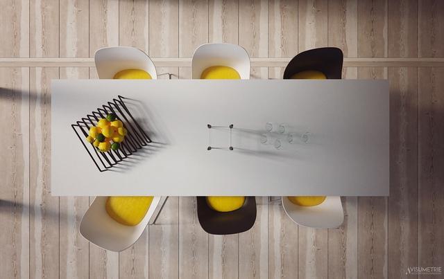 5. Phòng ăn này áp dụng phong cách hiện đại, kết hợp màu sắc nội thất hợp lý tạo nên không gian vô cùng vui tươi và thoải mái.